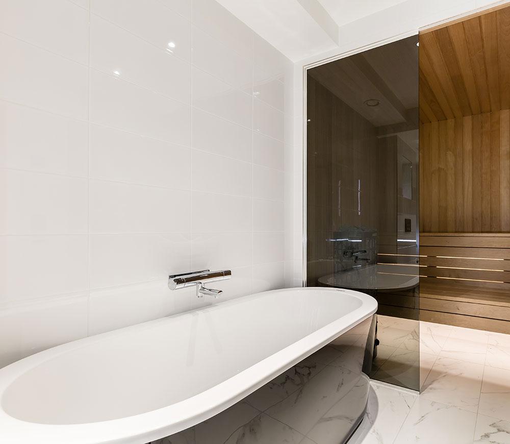 Liten bastu i badrum