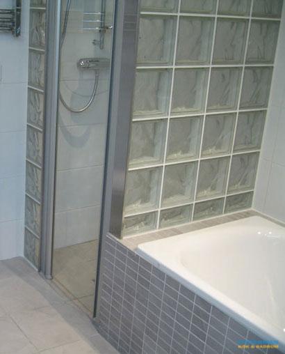 Duschkabin av glasblock